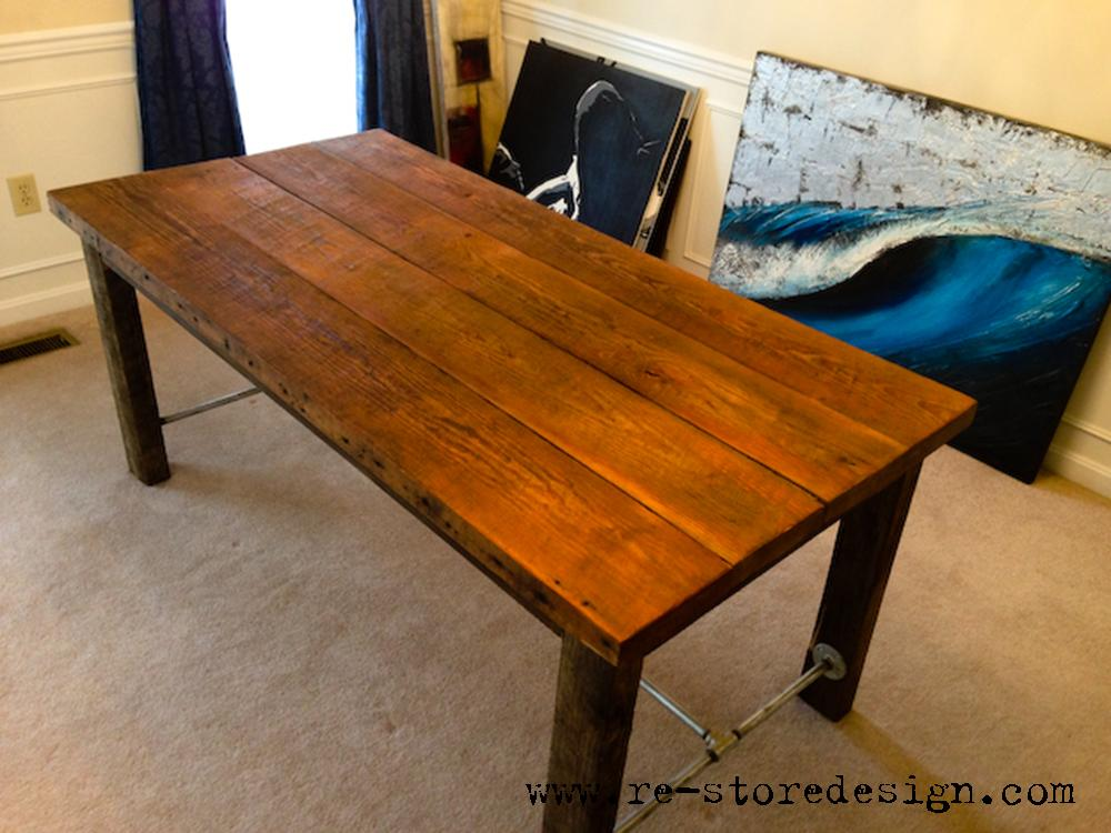 Reclaimed wood farm table behind the scenes of kurtz