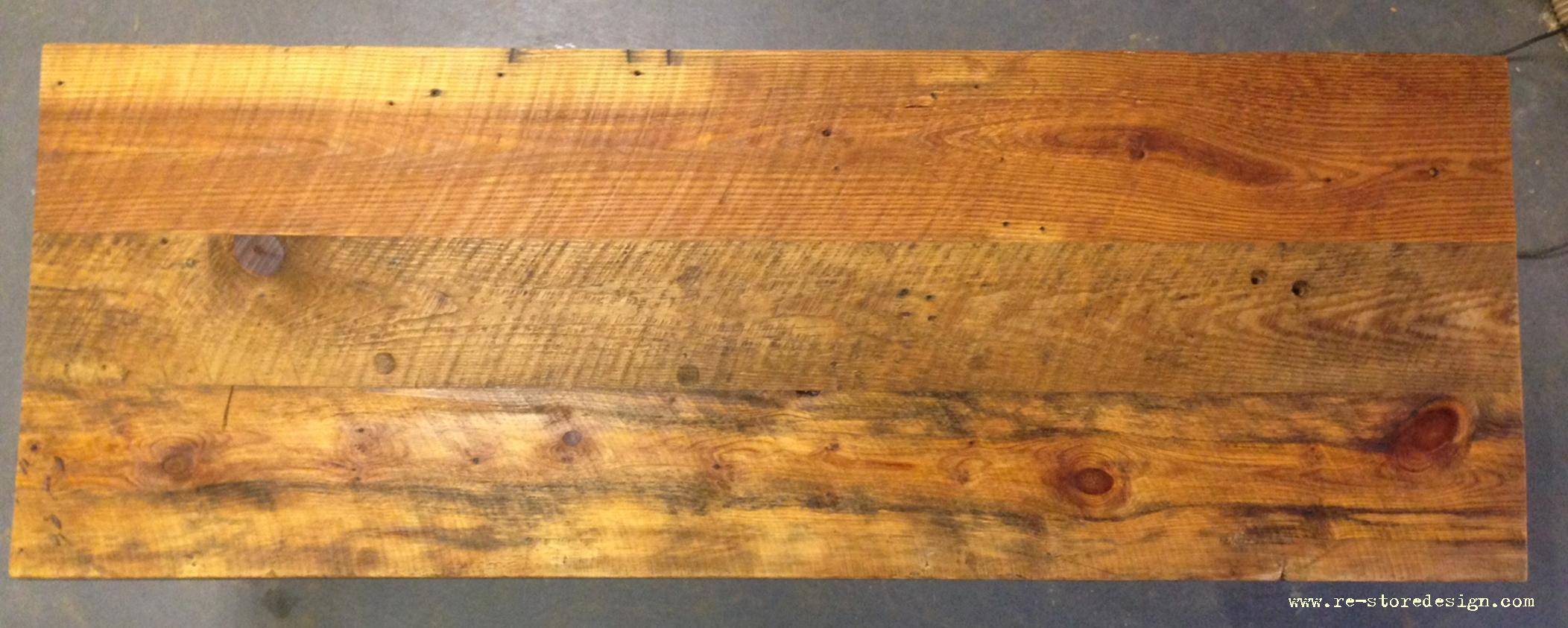 Reclaimed wood table top - Condo Size Reclaimed Wood Farm Table 2