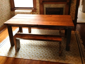 Reclaimed wood farm table washington dc row home 1