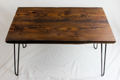 Reclaimed Beam Coffee Table with Hairpin Legs - 1