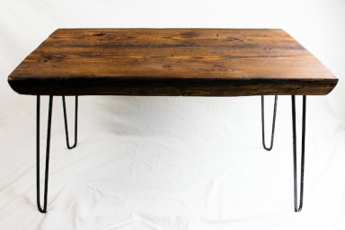 Reclaimed Beam Coffee Table with Hairpin Legs - 2