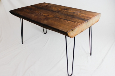 Reclaimed Beam Coffee Table with Hairpin Legs - 4