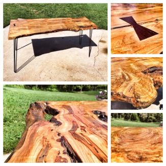 Live Edge Curly Maple Desk 8