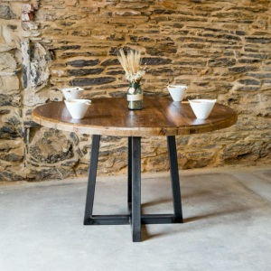 Stoll Table - Reclaimed Heart Pine Circle