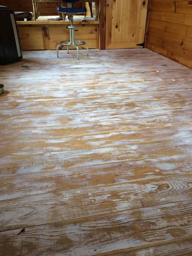 Tiny House Cabin floor after sanding