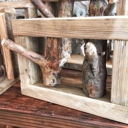 Reclaimed wood and tree branch racks