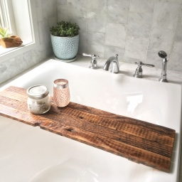 Reclaimed barnwood bath shelf
